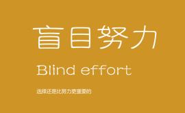我不反对努力,但我反对盲目的努力